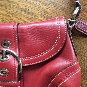 Gorgeous Cherry Red Leather Coach Purse